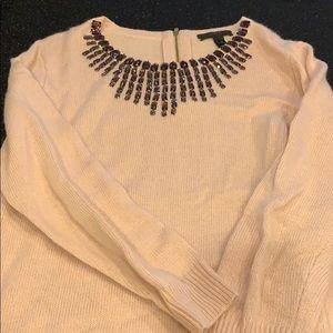 Pink j crew jewel neck sweater size xs